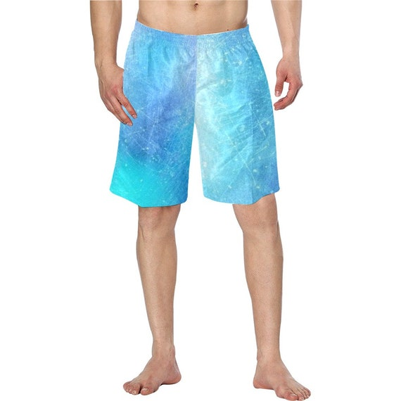 Blue Tie Dye Men's Swim Trunks