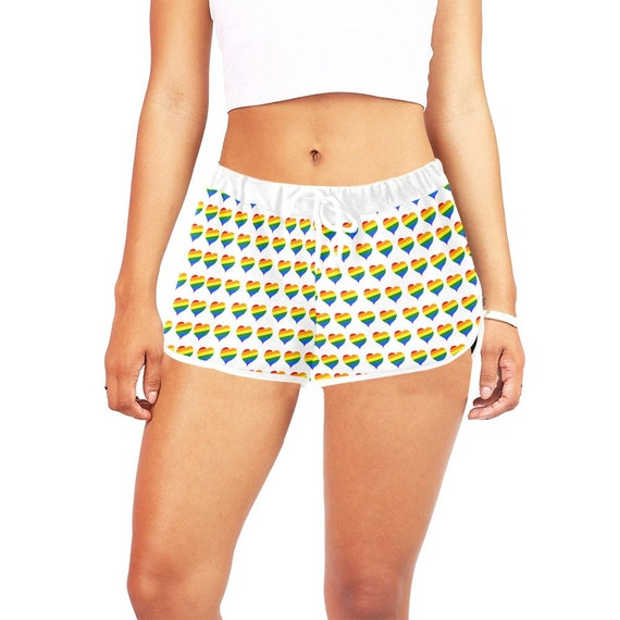 White Rainbow Hearts Women's Casual Shorts