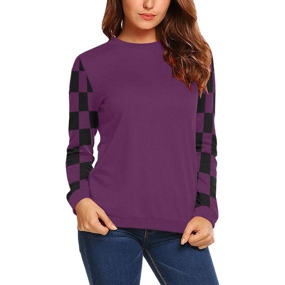 Discontinued!! .. Purple and Black Checker Women's Long Sleeve Shirt , Purple / Purple