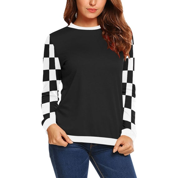 Discontinued!! .. Women's Long Sleeve Shirt with Black and White Checker Sleeves , Black