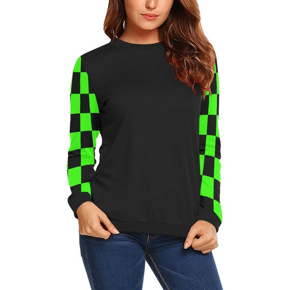 Discontinued!! .. Discontinued!! .. Black and Green Checker Sleeves Women's Long Sleeve Shirt ,  Black