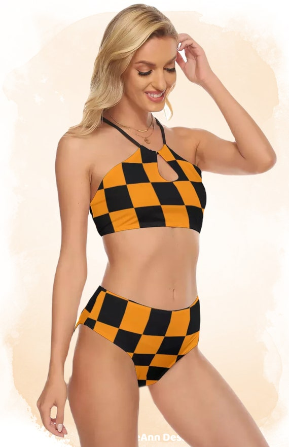 Orange and Black Checkers Women's Cami Top, High Waisted Bikini Swimsuit