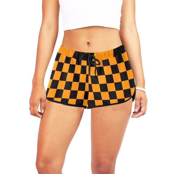 Checker Orange and Black Women's Casual Shorts