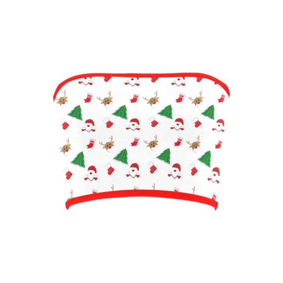 Discontinued!! .. Discontinued!! .. Christmas Santa Clause , Trees and Reindeer Women's Bandeau Top , Red