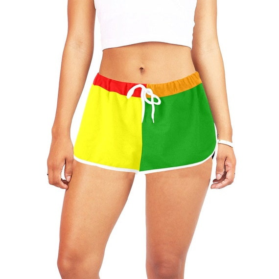 Rainbow Color Blocking Women's Casual Shorts