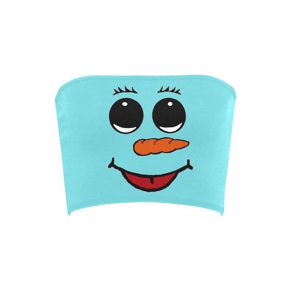 Discontinued!! .. Discontinued!! .. Cute Snowman Women's Bandeau Top , Blue