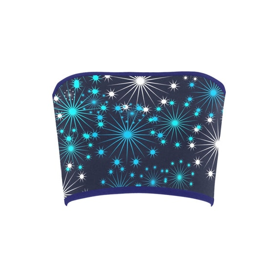 Discontinued!! .. Discontinued!! .. Christmas Sparkle Women's Bandeau Top , Navy Blue