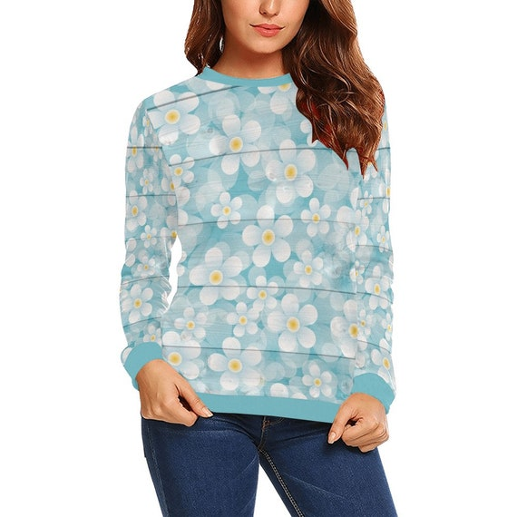 Discontinued!! .. Discontinued!! .. White Daisies Painted On Blue Wooden Planks Women's Long Sleeve Shirt