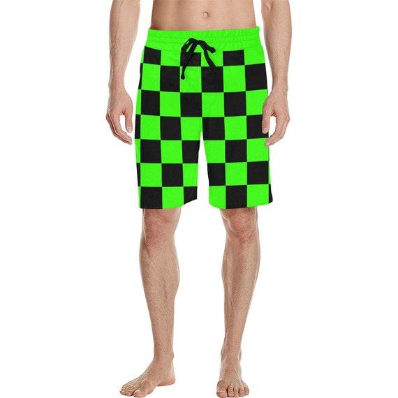 Green and Black Checker Men's  Casual Shorts