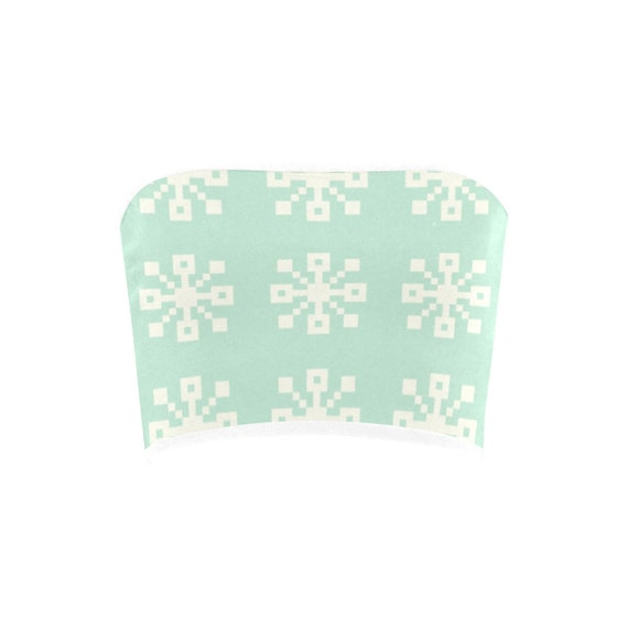 Discontinued!! .. Discontinued!! .. Christmas Snowflakes Women's Bandeau Top , Green with White Trim