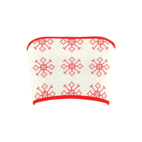 Discontinued!! .. Discontinued!! .. Christmas Snowflakes Women's Bandeau Top , Red
