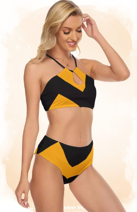 Orange and Black Zig Zag Women's Cami Top, High Waisted Bikini Swimsuit