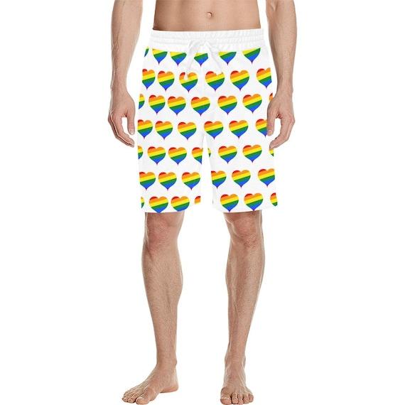 Rainbow Hearts Men's  Casual Shorts