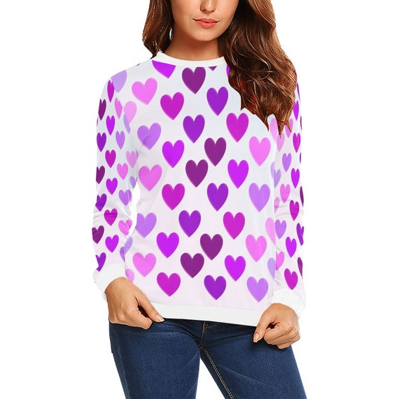 Discontinued!! .. Discontinued!! .. Pink and Purple Hearts Women's Long Sleeve Shirt , White
