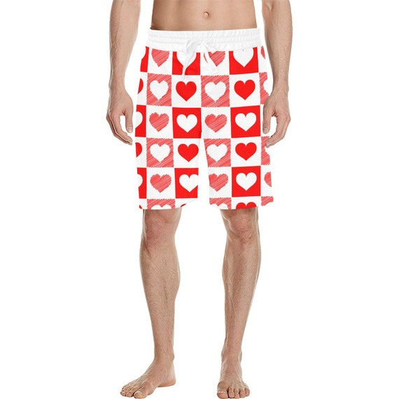 White and Red Heart  Checker Men's  Casual Shorts
