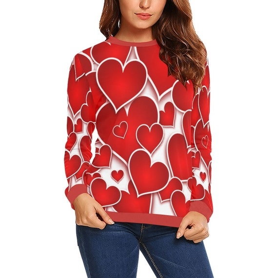 Discontinued!! .. Discontinued!! .. Red Hearts Women's Long Sleeve Shirt , Red