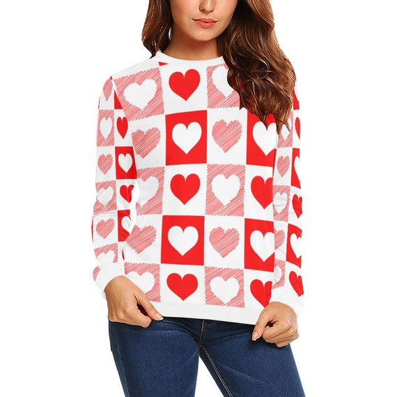 Discontinued!! .. Discontinued!! .. White and Red Checker  Hearts Women's Long Sleeve Shirt , White