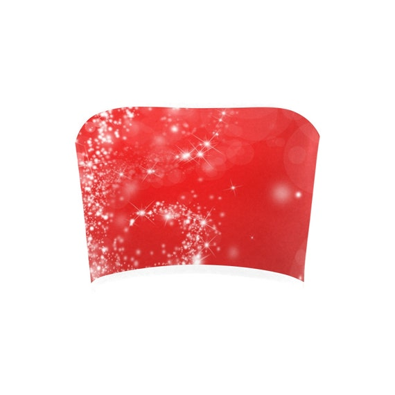 Discontinued!! .. Discontinued!! .. Christmas Sparkle Women's Bandeau Top , Red