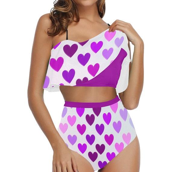 Purple and Pink Hearts High Waisted Flounce Bikini Set