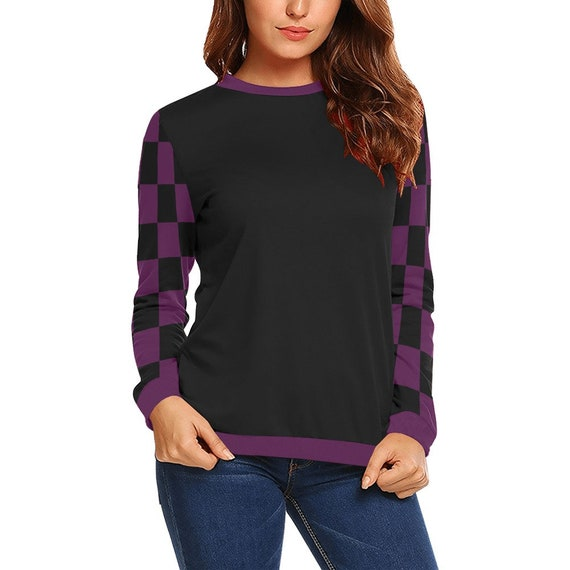 Discontinued!! .. Black and Purple Checker Women's Long Sleeve Shirt , Black / Purple