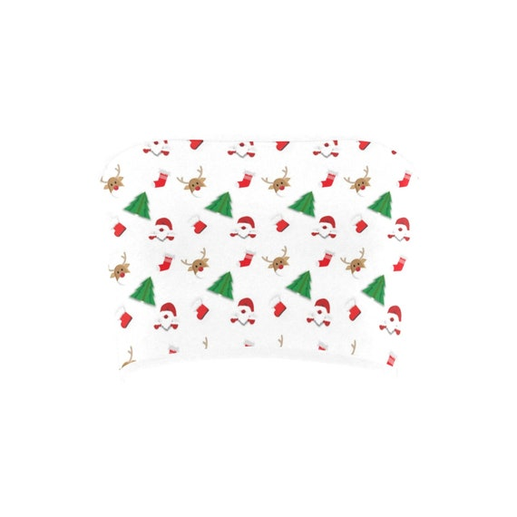 Discontinued!! .. Discontinued!! .. Christmas Santa Clause , Trees and Reindeer Women's Bandeau Top , White