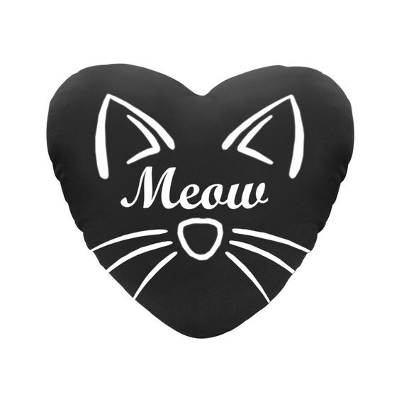 Discontinued!! .. Black with White Text Meow Cat Face Decorative Heart Shaped Throw Pillow