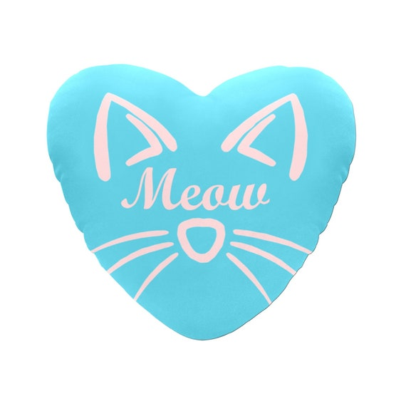 Discontinued!! .. Blue with Pink Text Meow Cat Face Decorative Heart Shaped Throw Pillow