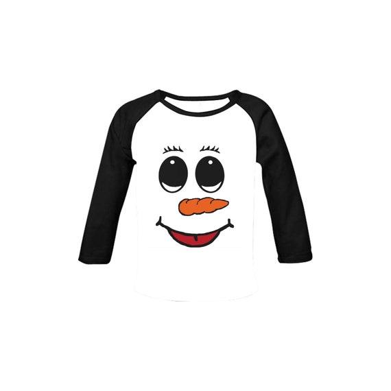 Christmas - Cute Snowman Face Baby Organic Long Sleeve Shirt