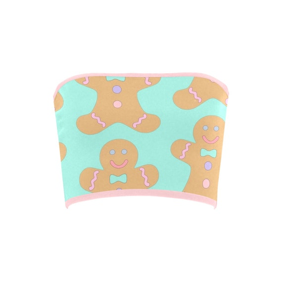 Discontinued!! .. Discontinued!! .. Gingerbread Christmas Cookies Women's Bandeau Top , Green / Pink