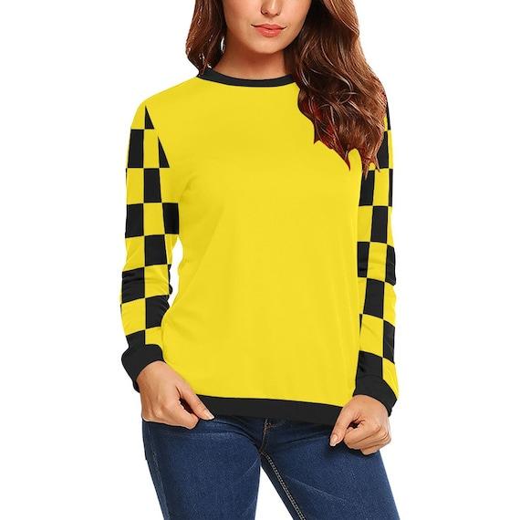 Discontinued!! .. Yellow and Black Checker Women's Long Sleeve Shirt , Yellow / Black
