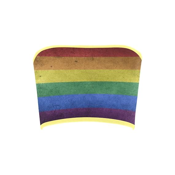 Discontinued!! .. Rainbow Flag Women's Bandeau Top , Yellow Trim