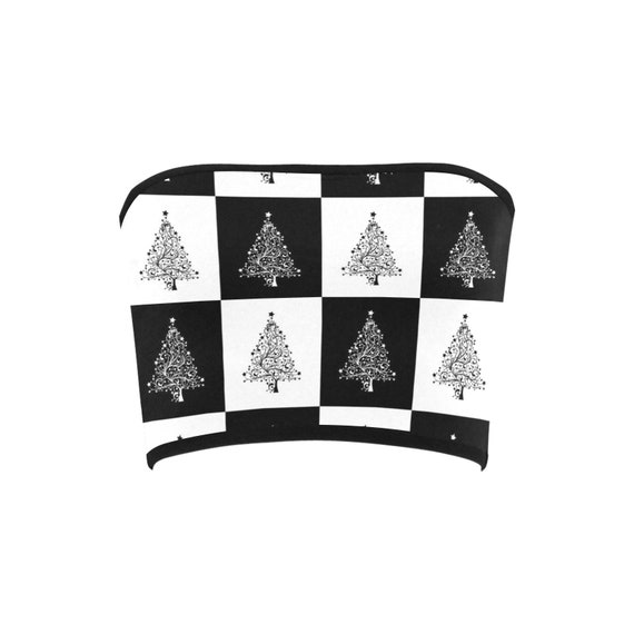 Discontinued!! .. Discontinued!! .. Black and White Checkers Christmas Trees Women's Bandeau Top , Black