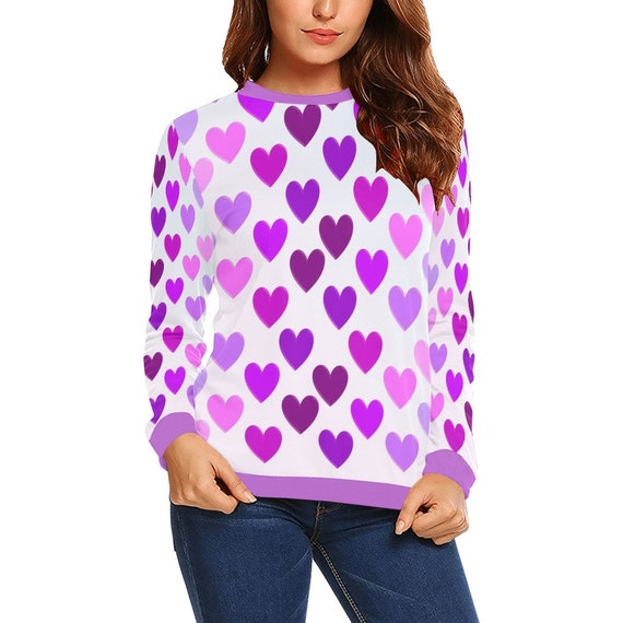 Discontinued!! .. Pink and Purple Hearts Women's Long Sleeve Shirt , Purple