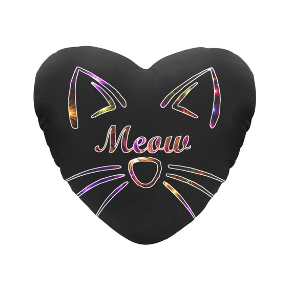 """Black with Rainbow Sparkle Text """"Meow"""" Cat Face Decorative Heart Shaped Throw Pillow"""