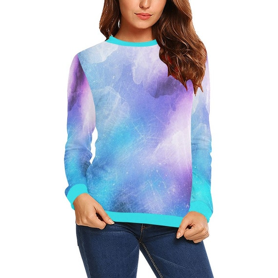 Discontinued!! .. Discontinued!! .. Tie Dye Look Women's Long Sleeve Shirt , Purple / Blue