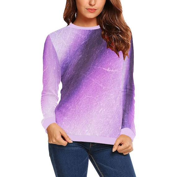 Discontinued!! .. Discontinued!! .. Tie Dye Look Women's Long Sleeve Shirt , Purple