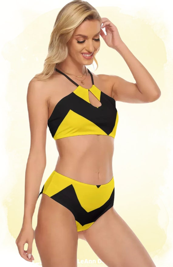 Black and Yellow Zig Zag Women's Cami Top, High Waisted Bikini Swimsuit