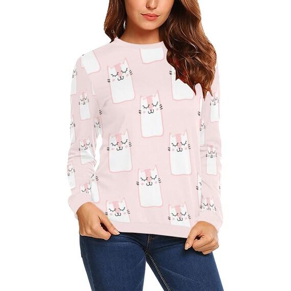 Discontinued!! .. Cute Cat Women's Long Sleeve Shirt , Pink