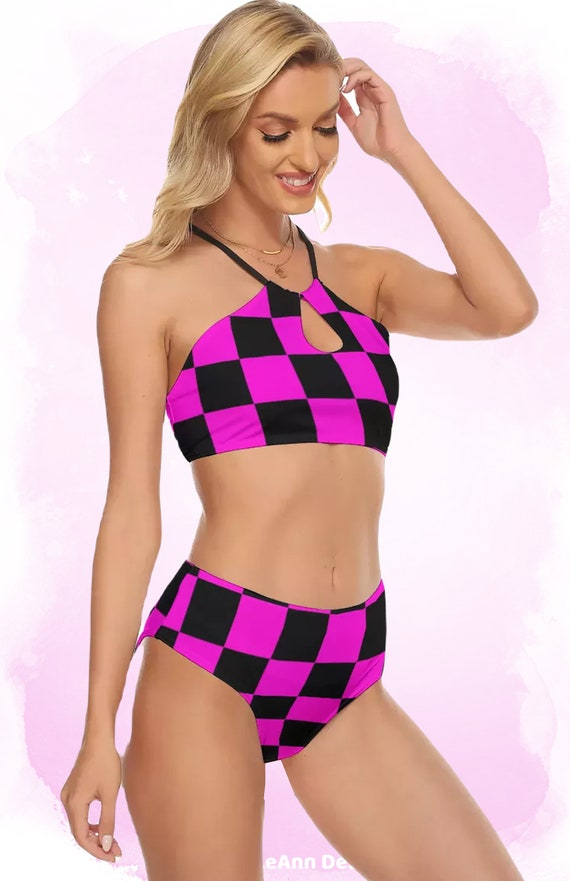 Pink and Black Checkers Women's Cami Top, High Waisted Bikini Swimsuit