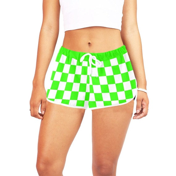 Green and White Checker Women's Casual Shorts
