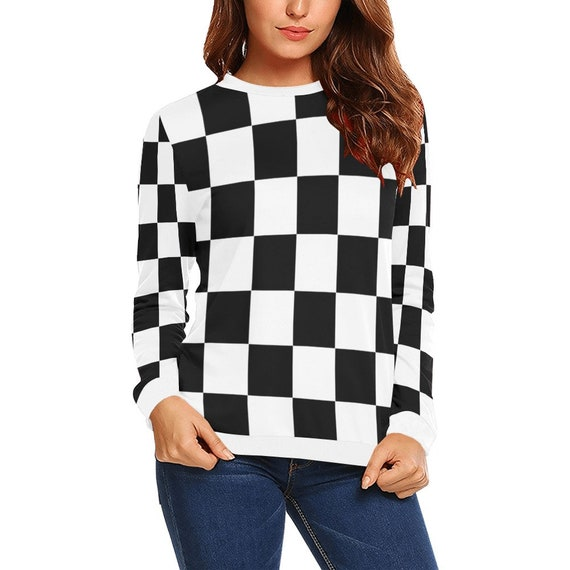 Discontinued!! .. White and Black Checker Women's Long Sleeve Shirt