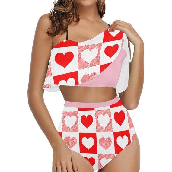 Red and White Heart Checker High Waisted Flounce Bikini Set