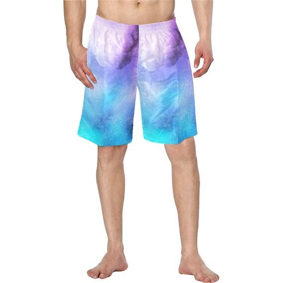 Purple and Blue Tie Dye Men's Swim Trunks