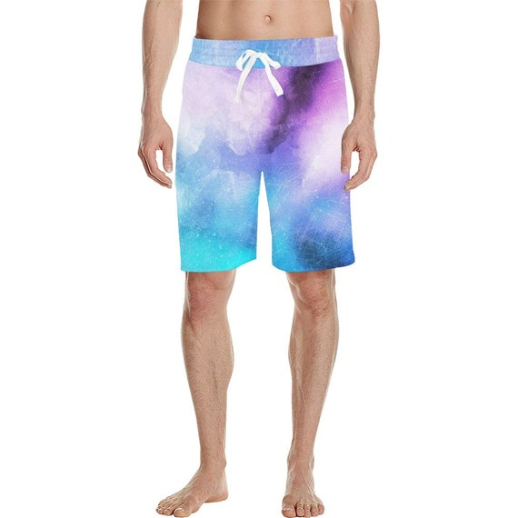 Purple and Blue Tie Dye Look  Men's  Casual Shorts