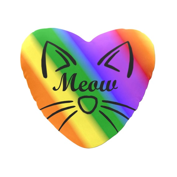 Rainbow with Black Text Meow Cat Face Decorative Heart Shaped Throw Pillow