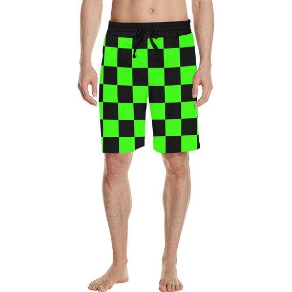 Black and Green Checker Men's  Casual Shorts