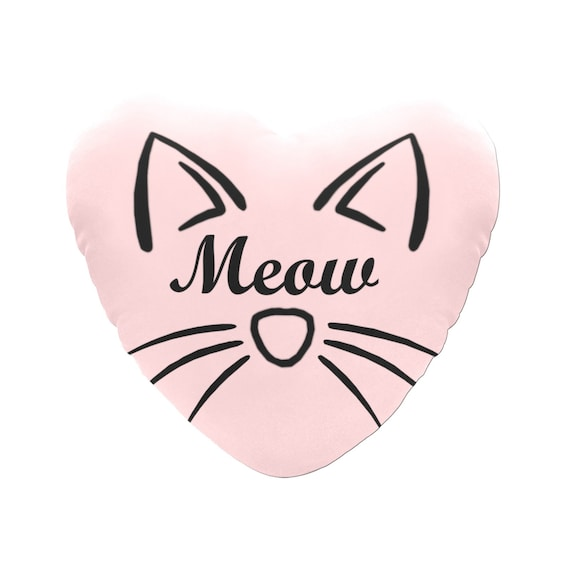 Pink with Black Text Meow Cat Face Decorative Heart Shaped Throw Pillow