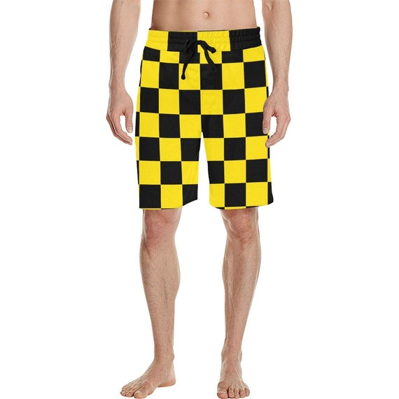 Black and Yellow Checkers Men's  Casual Shorts , Checker Waistband