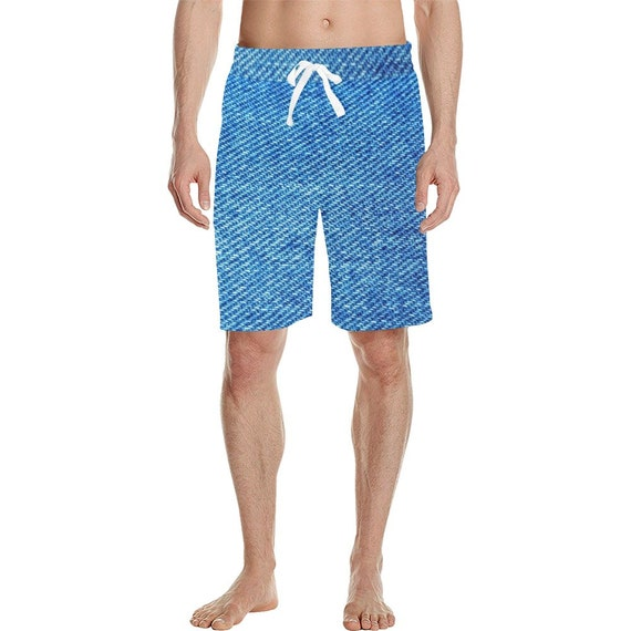Blue Demin Look  Men's  Casual Shorts