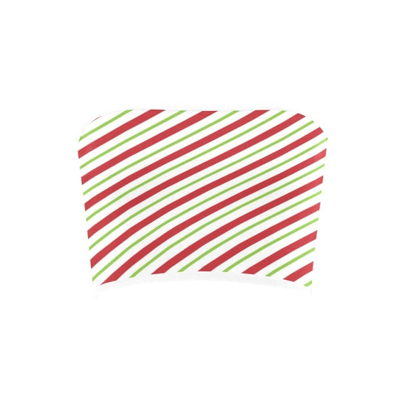 Discontinued!! .. Discontinued!! .. Red and Green Christmas Elf Inspired  Stripes Women's Bandeau Top  ,  White